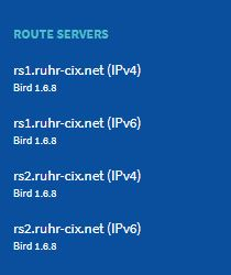 Ruhr-CIX Looking glass neighbor overview